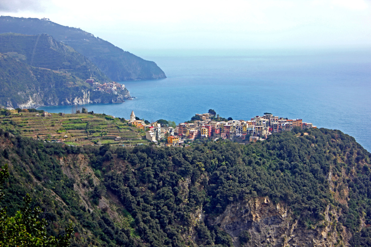 A view of Corniglia and Manarola on the coastal hike from Vernazza, Cinque Terre, Italy