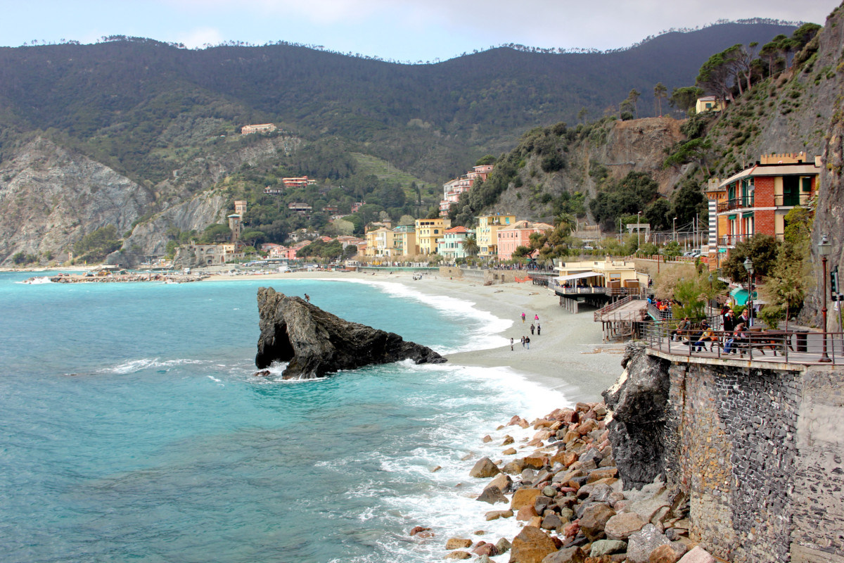 A large Rock in the Medeterranean Sea in the city of Monterosso, Cinque Terre Italy