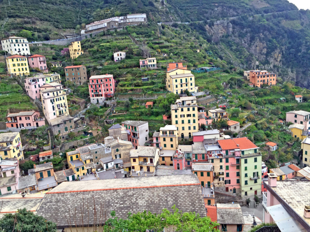 building on the cliffs on Riomaggiore in Cinque Terre, Italy