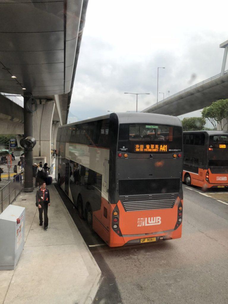 Double Decker city bus at Hong Kong Airport