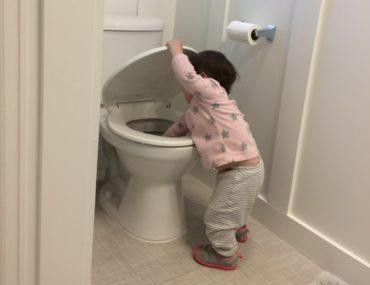A toddler reaches into the toilet