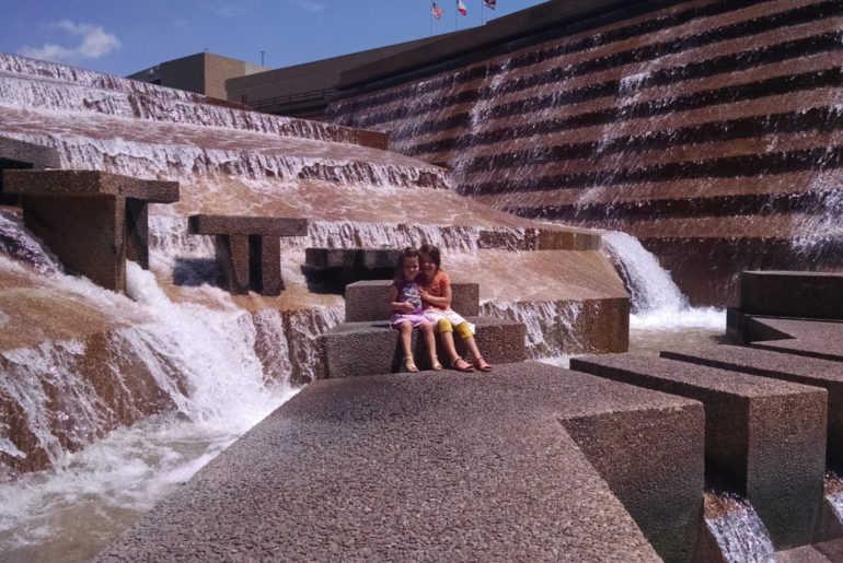 3 kids at the water Gardens in Fort Worth