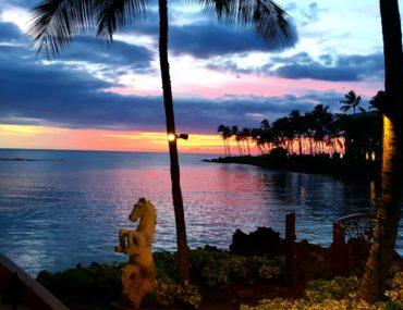 blue, purple and yellow sunset at Hilton Waikoloa