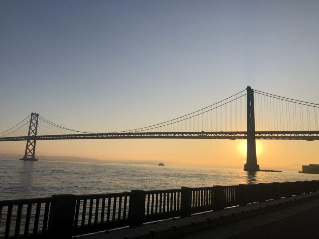 Sunrise behind the Bay Bridge in San Francisco