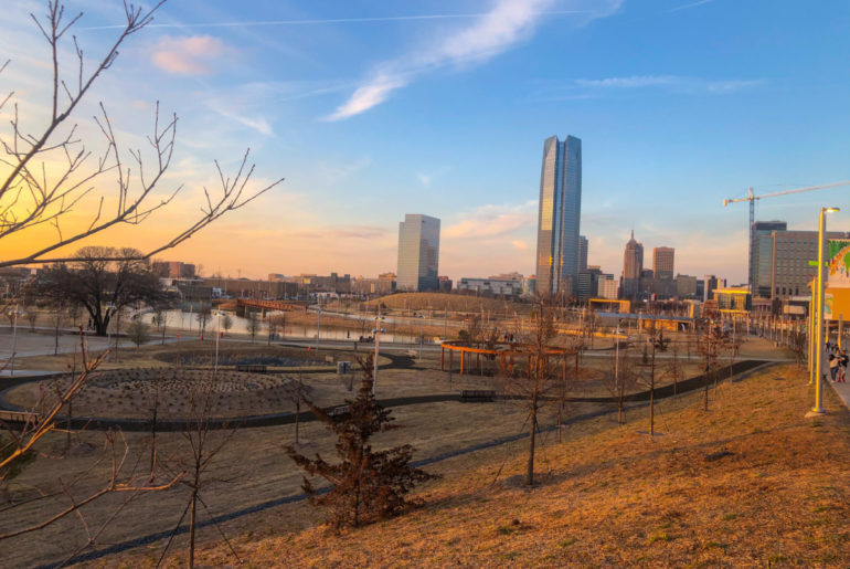 View of Scissortail park and the skyline of Oklahoma City, OKC