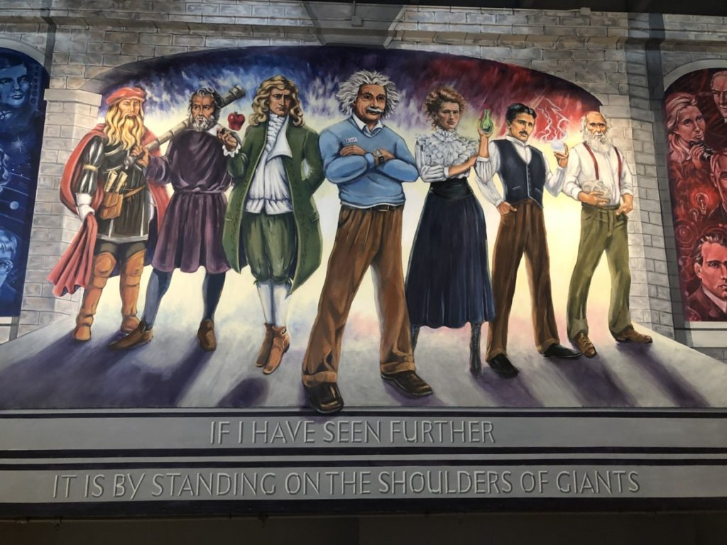 Oklahoma 7 scientists from history painted on the wall at the science Museum Standing on the Shoulders of Giants
