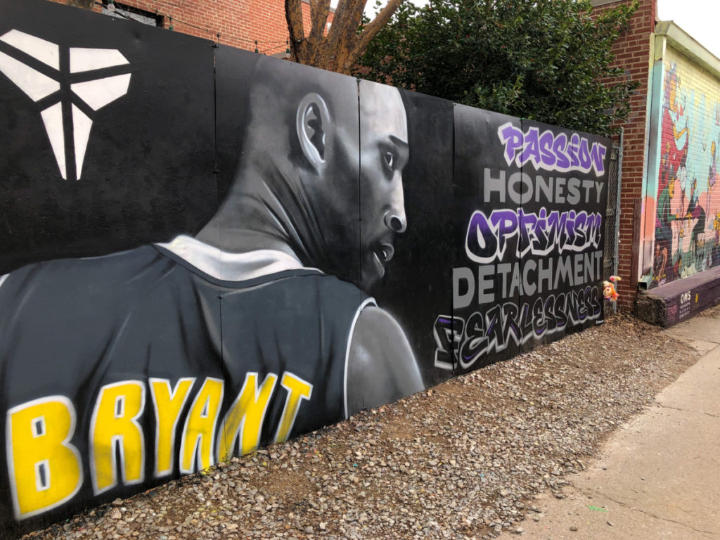 Kobe Bryant Painting at OKC with kids Plaza Walls