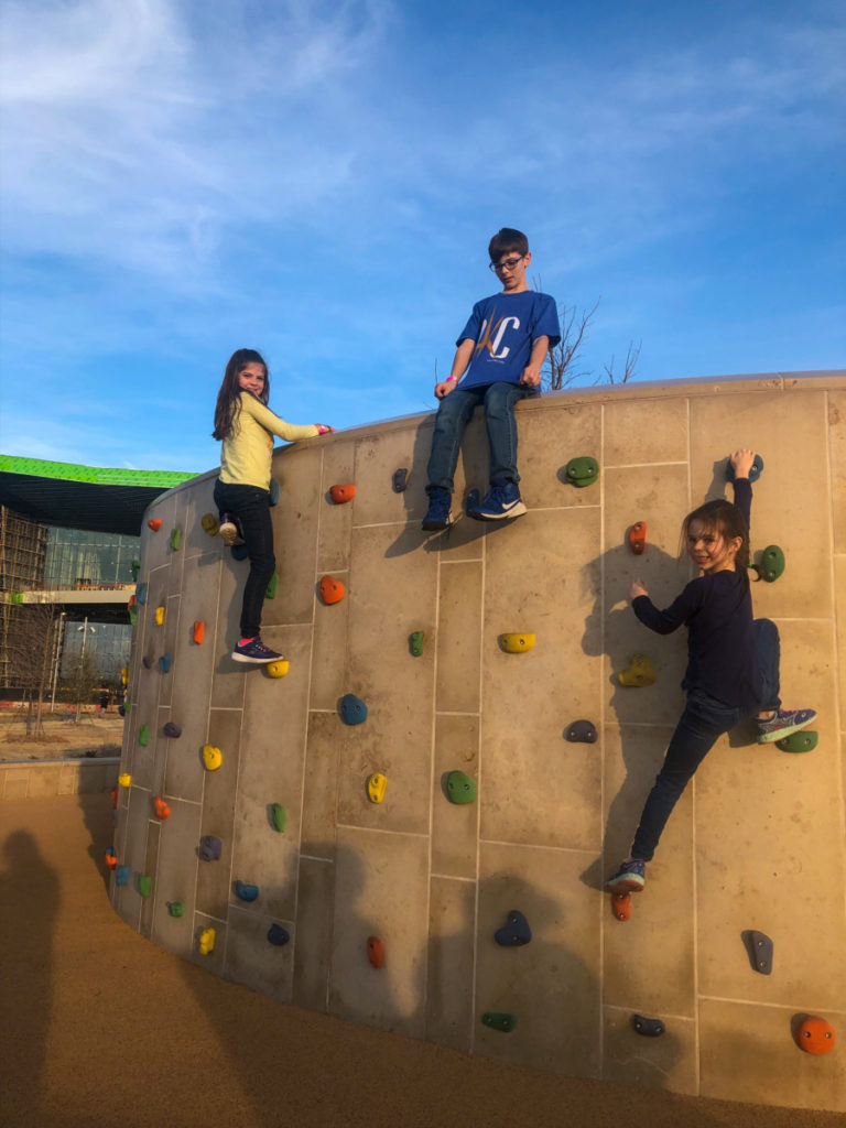 Rock climbing at Scossortail Park in OKC with kids