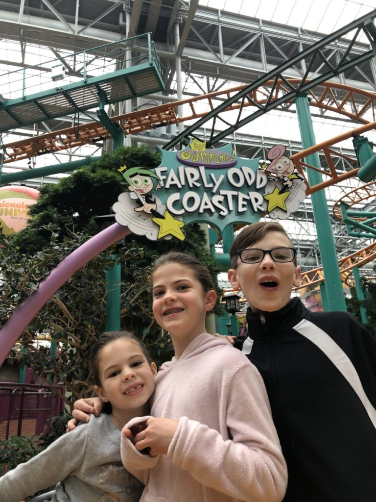 3 kids at Fairly Odd Coaster at Nickelodeon Universe of Mall of America in Minneapolis