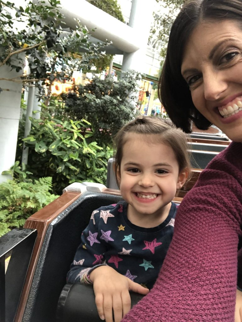 Mom and Toddler ride Back and the Barnyard Hayride at Nickelodeon Universe at the Mall of America in Minneapolis