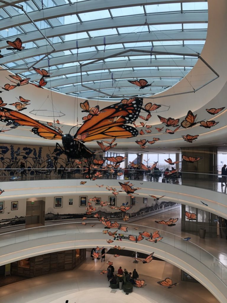Butterflies hang from the ceiling at the Mall of America top level looking down on 4 levels of the Mall
