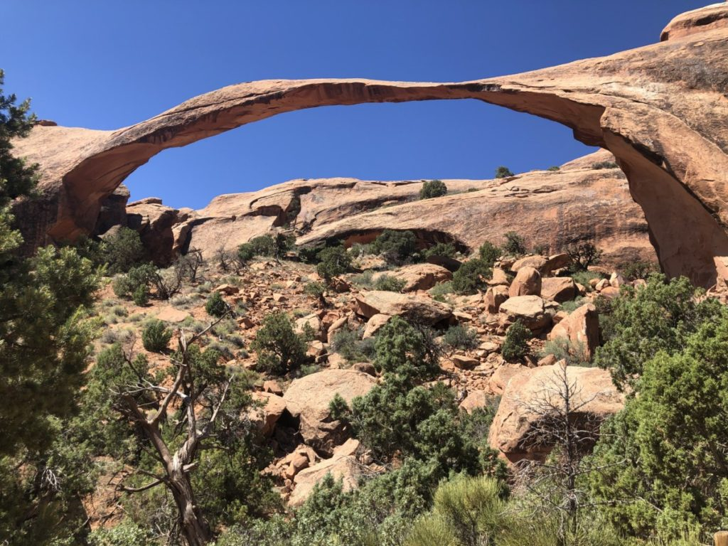 Landscape arch with blue sky background