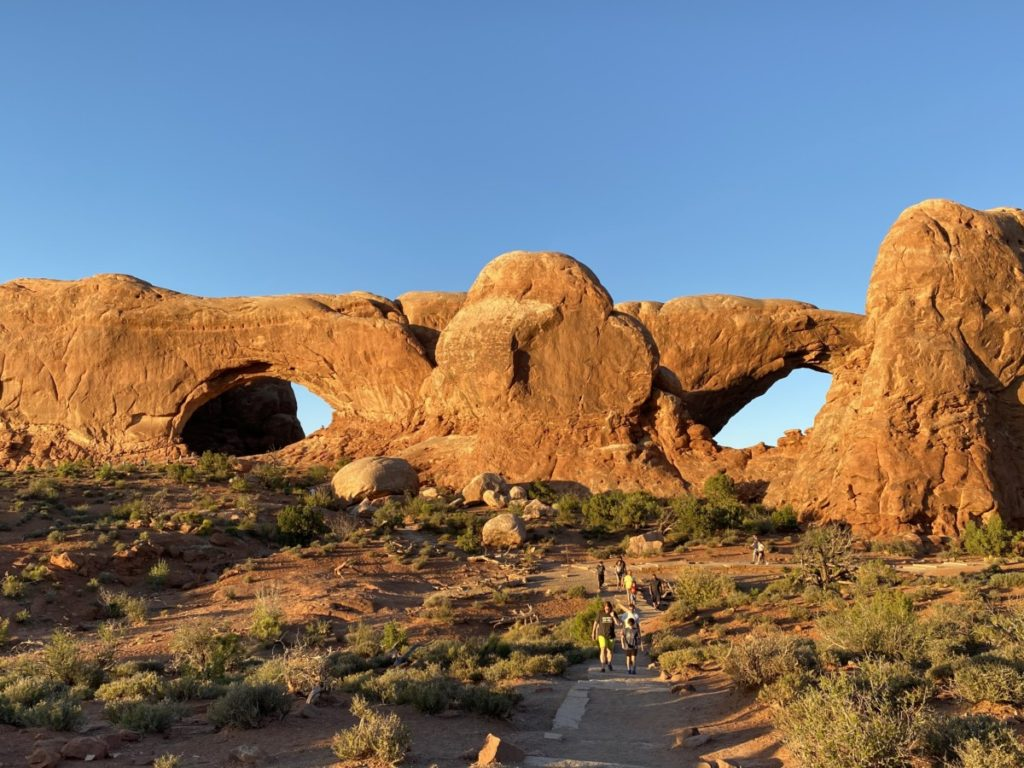 looks like 2 eyes and a nose at North and South Window in Arches National Park
