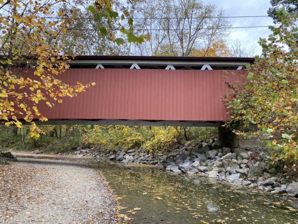 Red Everett Covered Bridge with leaf -filled water and yellow trees in Cuyahoga Valley National Park