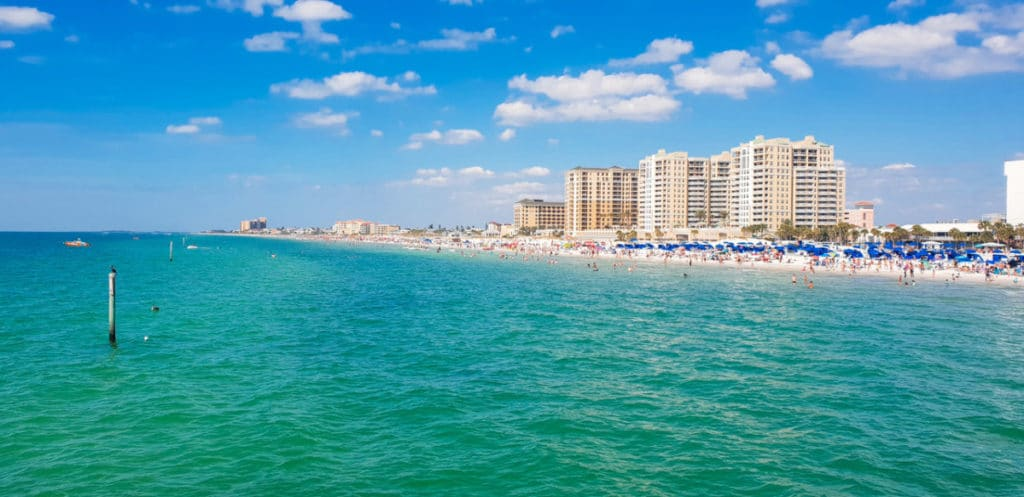 Green and Blue waters looking to the high rides on Clearwater Beach in Florida