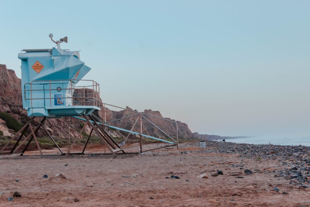 Life guard tower on San Onofre State Beach in California