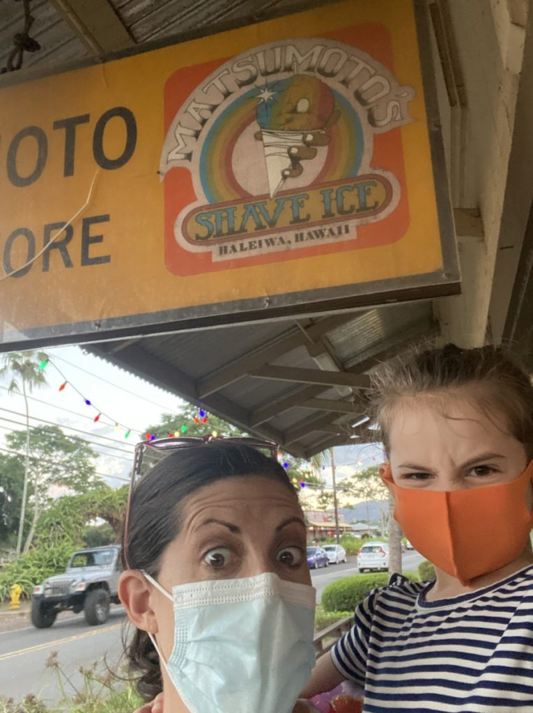Mom and Daughter Masked up at Matsumoto's Shave Ice in Haleiwa, Hawaii