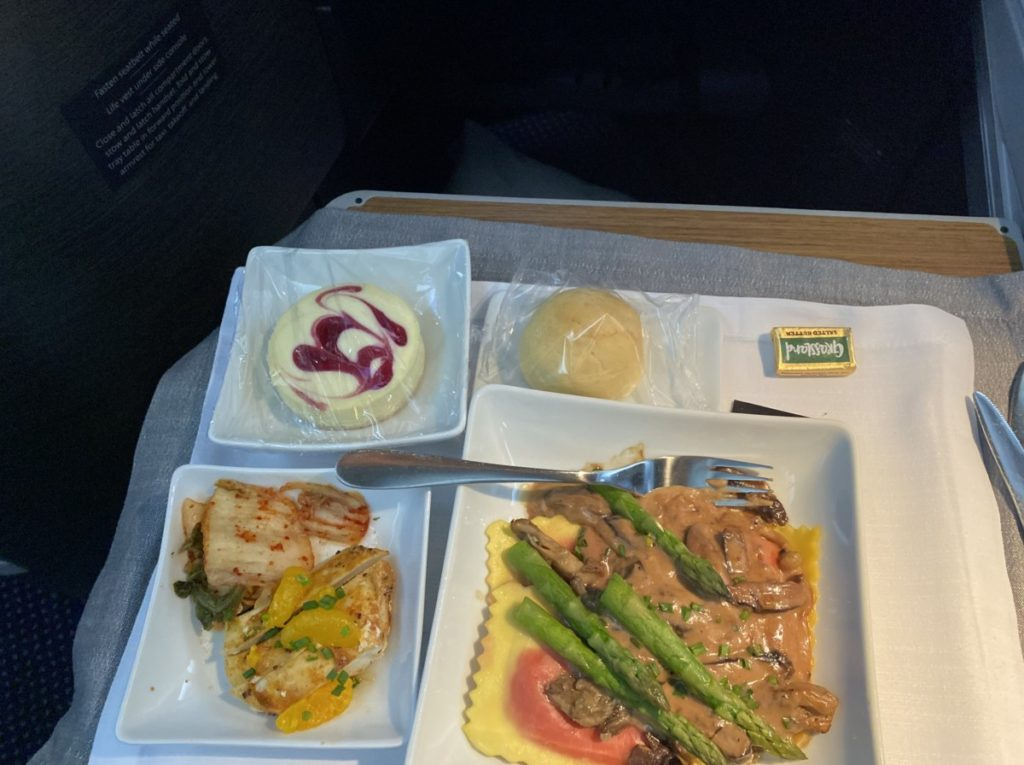Salmon and Shrimp First Class meal on American Airlines to Hawaii